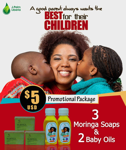 Mother's Love: 3 Moringa Soaps + 2 Bottles of Baby Oil