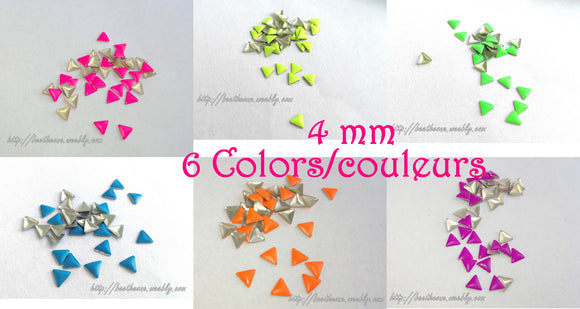 Lot de 5 Cabochons strass triangle fluo - 4 mm - 6 coloris