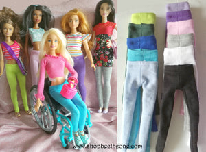 Pantalon collant leggings long pour poupées Barbie - 11 couleurs - 4 tailles - Collection Basics - Marque Zambara