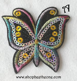 Applique écusson patch thermocollant Papillon arc-en-ciel à sequins holographiques - 2 coloris