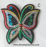 Applique écusson patch thermocollant Papillon colorés à sequins - 3 coloris