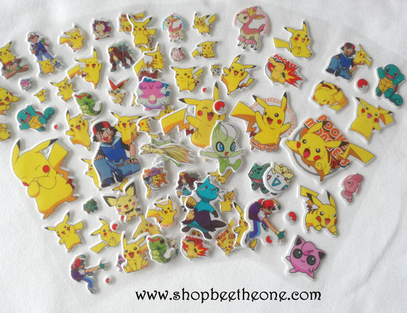 Planche de stickers autocollants Pokemon en relief - 5 modèles