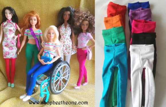 Pantalon collant leggings long pour poupées Barbie - 9 couleurs - 4 tailles - Collection Basics - Marque Zambara