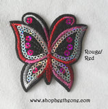 Applique écusson patch thermocollant Papillon dégradé à sequins holographiques - 7 coloris
