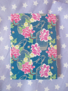 Carnet - Notebook Girly à fleurs - fond bleu