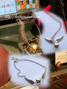 "Parure de bijoux Harry Potter ""Vif d'or"" Collier + Bracelet"