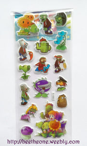 "Planche de stickers ""Plants VS Zombies"""