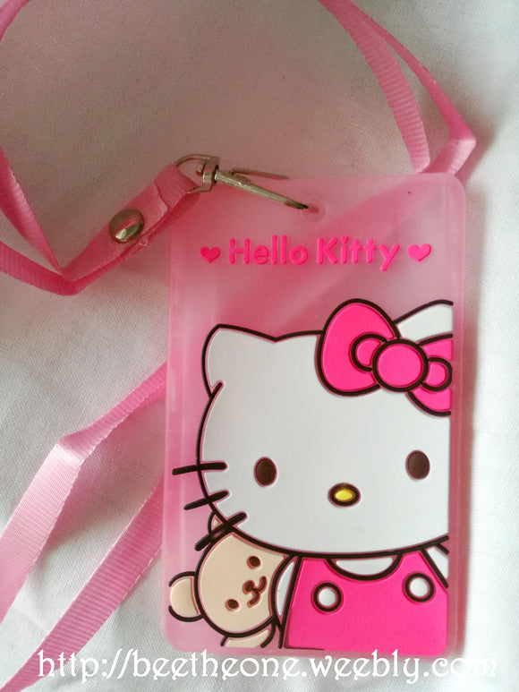 Porte-badges Hello Kitty et nounours en plastique