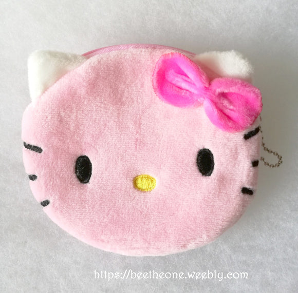 Porte-monnaie kawaii en peluche Hello Kitty rose