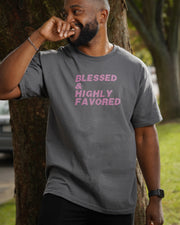 Blessed & Highly Favored Tee in Charcoal