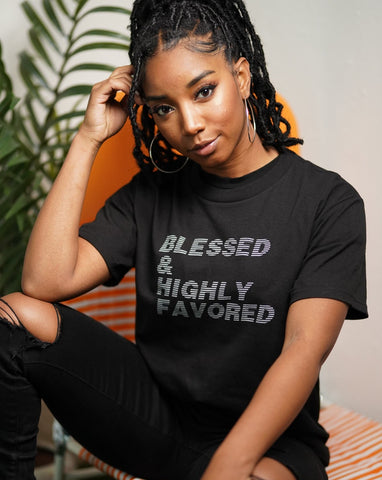 Blessed & Highly Favored Tee in Black/Gray