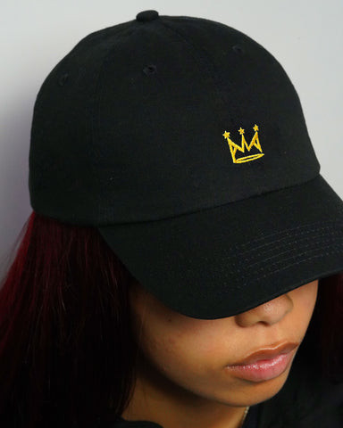 Crown Dad Hat in Black (Embroidered)
