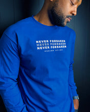 Load image into Gallery viewer, Never Forsaken L/S Tee in Blue