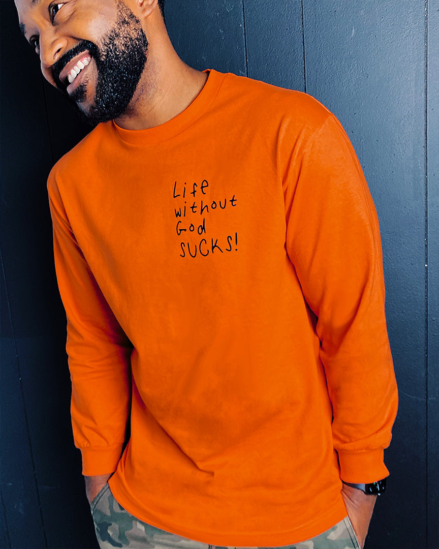 Life Without God L/S Tee in Orange