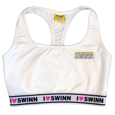 SWINN Bra XS 30/32 / White / I Love Swinn The Swinn Pastel Striped Logo Bra by Swinn - White