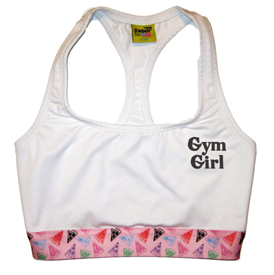 SWINN Bra XS 30/32 / White / Pizza The GYM GIRL Bra by Swinn - White