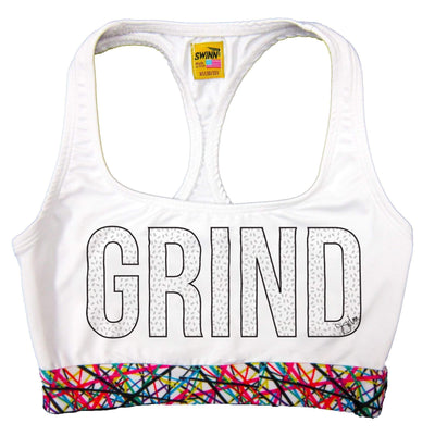 SWINN Bra XS 30/32 / White / Scribble The GRIND Bra by Swinn - White with Black Ink
