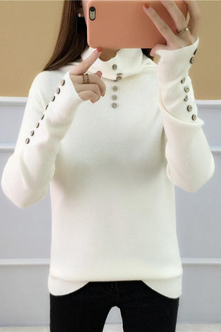 Image of Casual Loose Long   Sleeve Heaps Collar Knitting Sweater Blouse Black one size