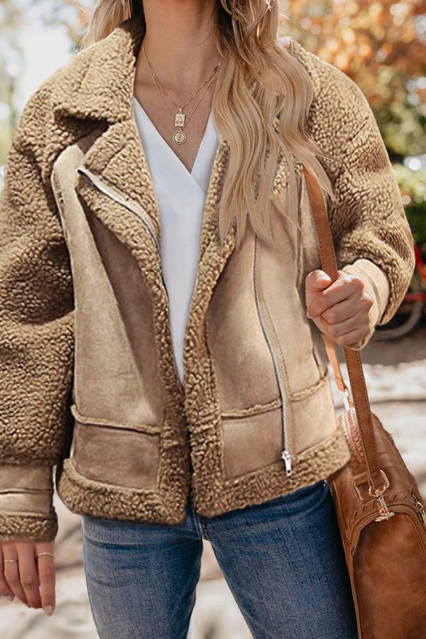 Casual Fashion Thermal Solid Color Long Sleeve Jacket Cardigan Khaki s