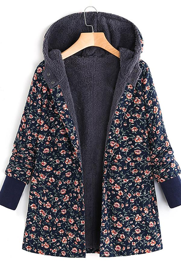 Casual Garden Floral Print Hooded Jacket Dark Navy m