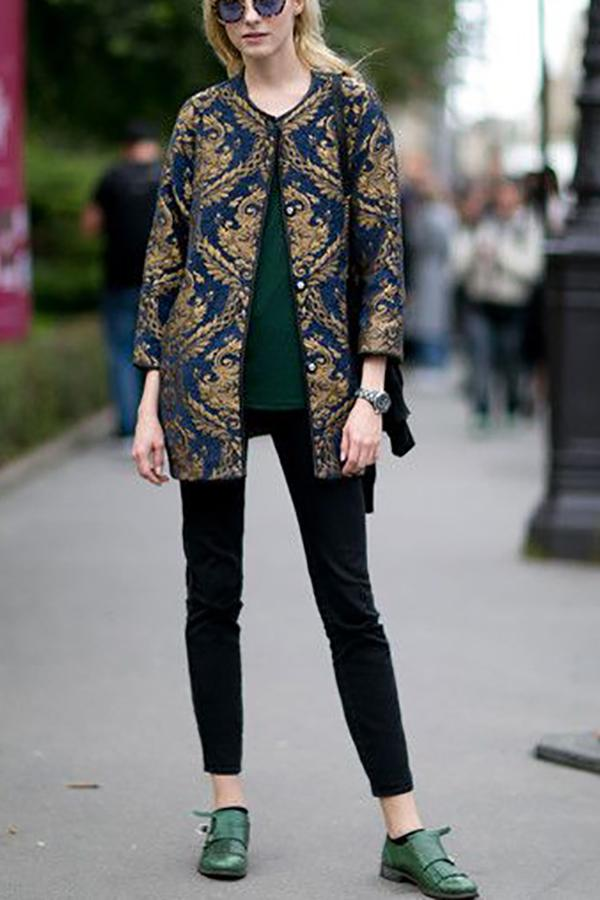 Stylish New Arrival Loose Embroidery Long Sleeve Suit Cardigan Same As Photo m
