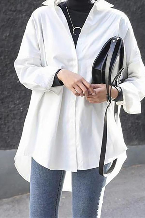 Fashion Casual Long Sleeved Loose Pure Color Shirt White s