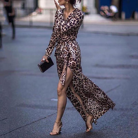 Image of Sexy Leopard Print Side Vented Long Sleeve Maxi Dresses Leopard Print m