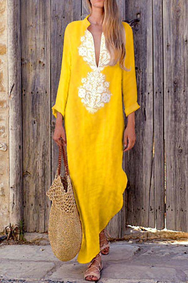 Fashionable Cotton\/Line Casual V-Neck Yellow Dress yellow s