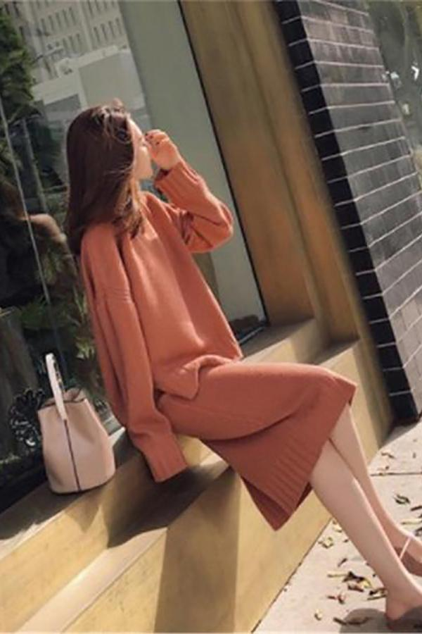 Fashion Knitted   Sweater Maxi Dress Two Piece Suit Skirt Black one size