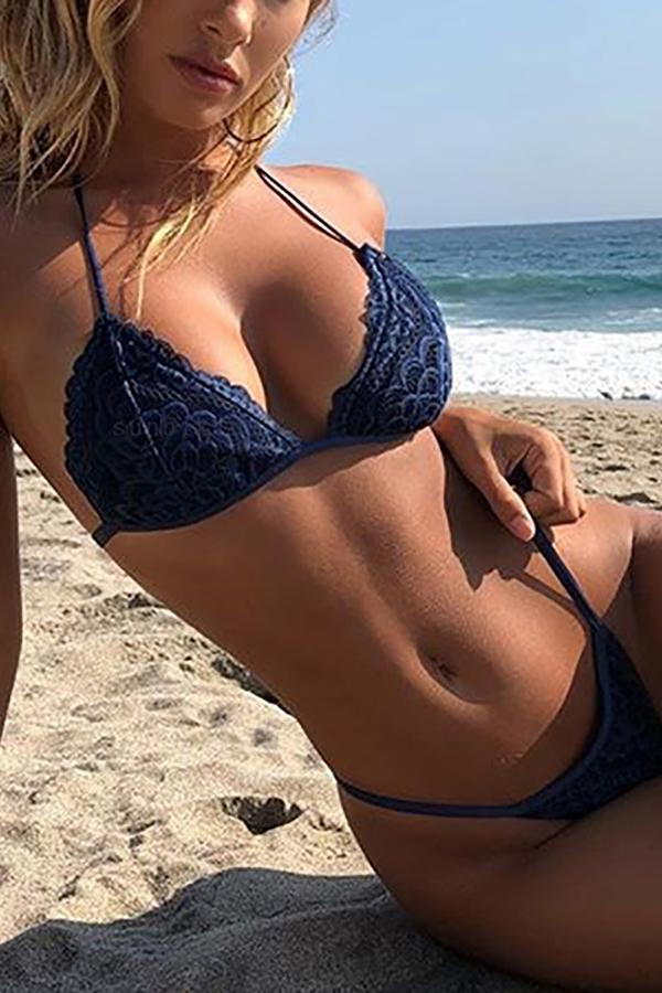 Sexy Bikini Lace Strap Swimsuit Blue s
