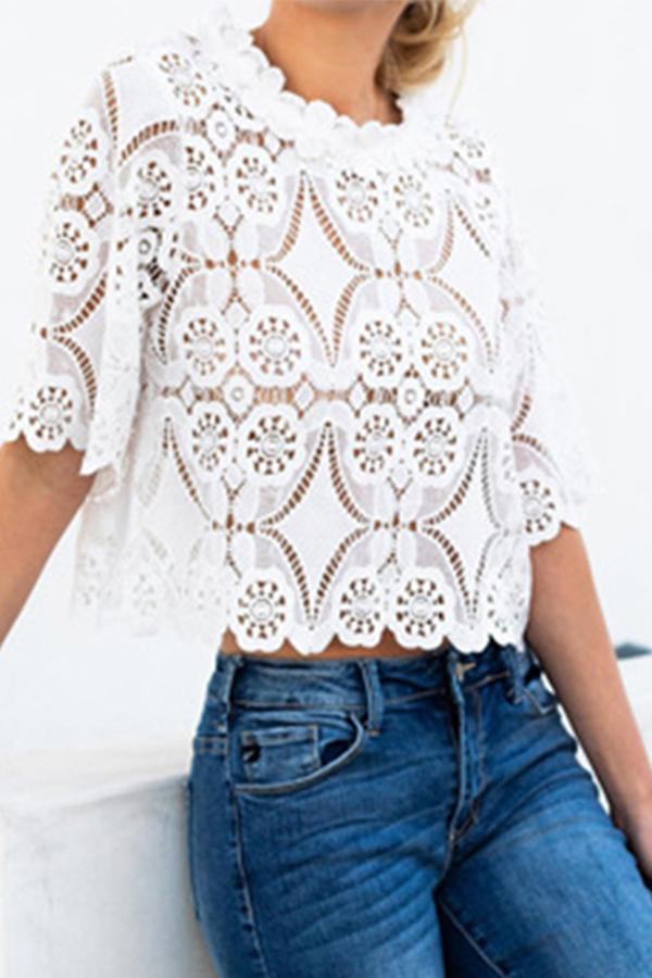 Fashion Lace Hollow Out Round Neck Half Sleeve Loose Blouse White s
