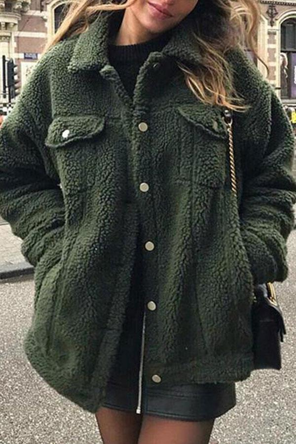 Fashion Lapel Button Pocket Long Sleeve Plain Jackets green s