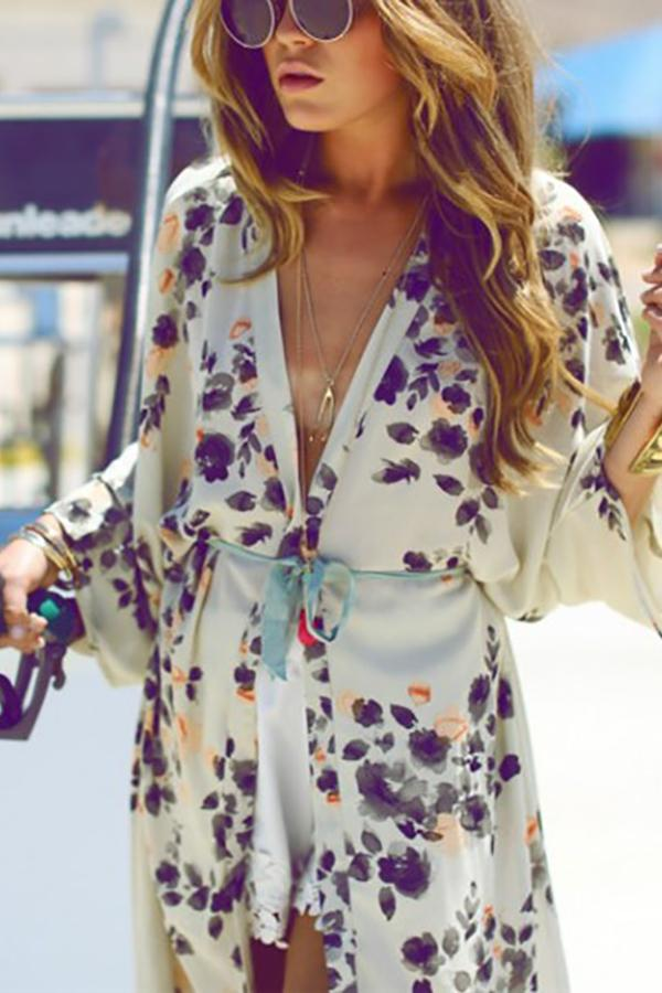 Fashion Floral Print   Sunscreen Chiffon Cardigan Same As Photo s