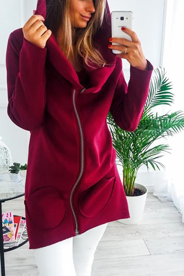 Casual Solid Color   Zipper Long Hooded Fleece Jacket Red s