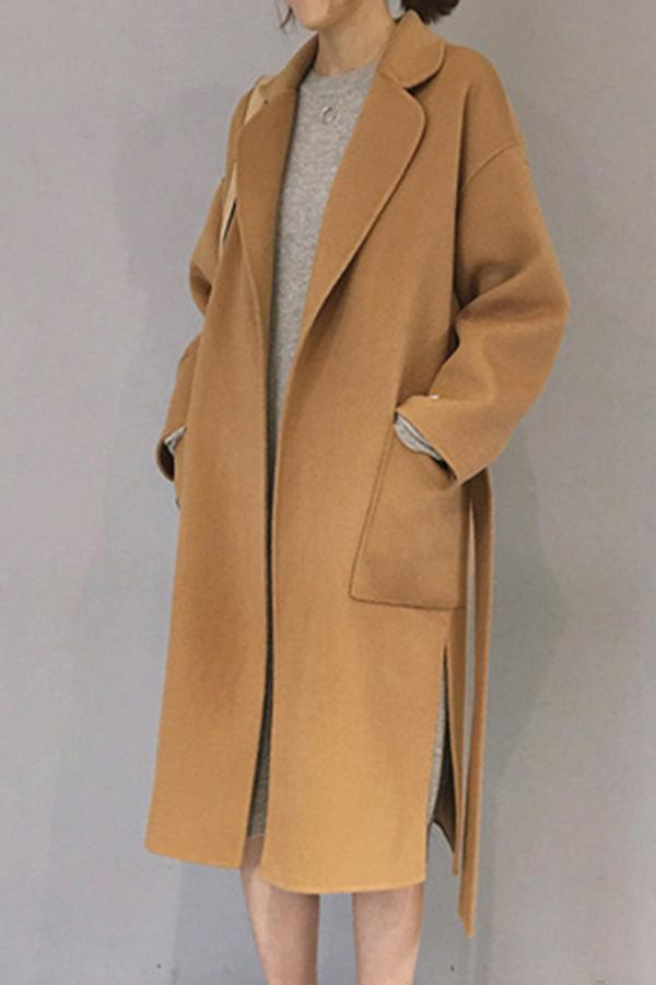 Notch Lapel  Side Slit  Belt  Plain Coat Camel one size
