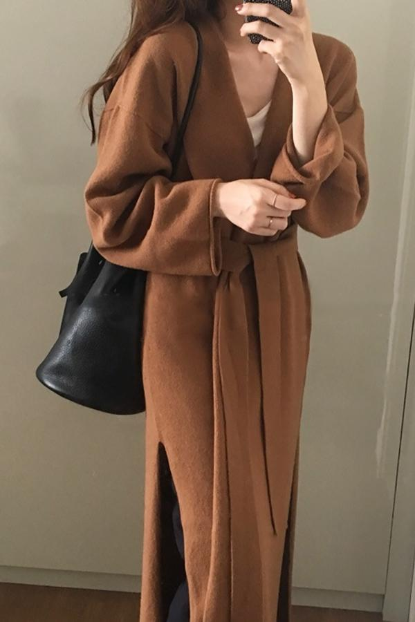 Long Knitted Lace With Slit Open Knit Coat Brown one size