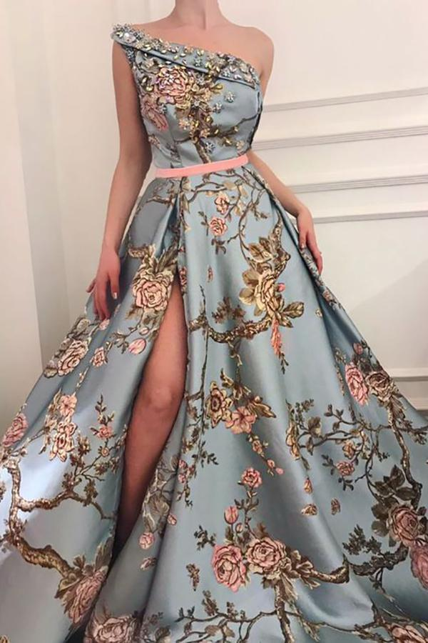 Sexy Elegant Single Shoulder Printing Long Evening Dress blue s