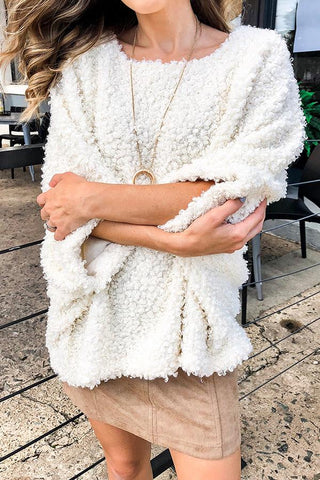 Image of Solid Color Large Round Neck Long Sleeve Cardigan beige s