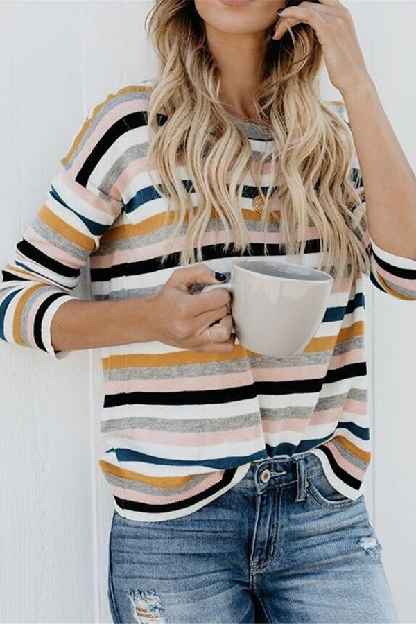 Fashionable Loose And Thin Color Striped T Shirt Same As Photo s