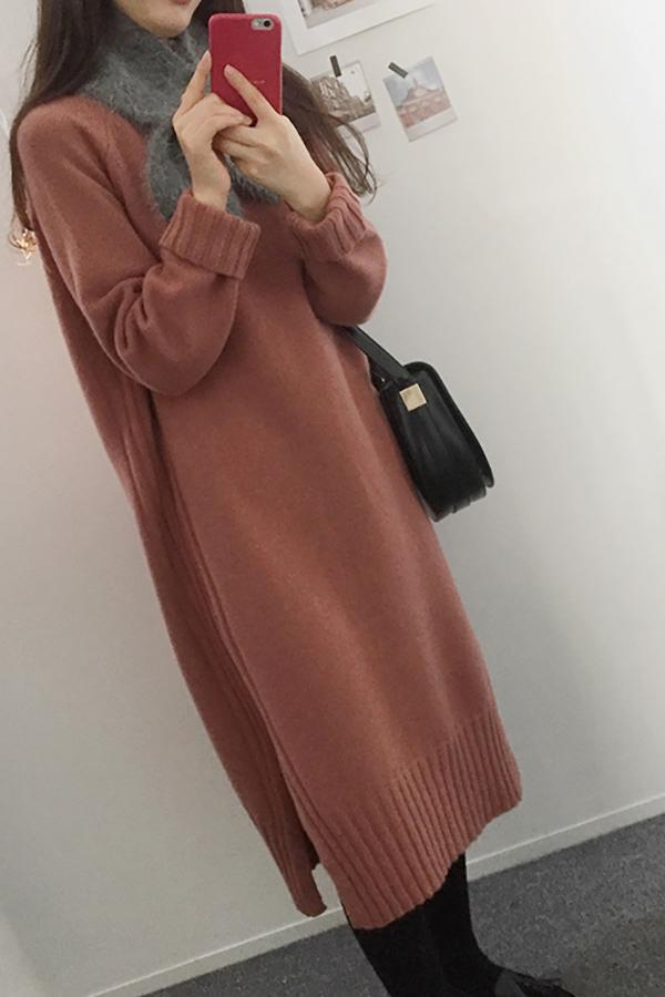 Fashion Long Sleeve Loose Flattering Knitted Maxi Dress Red one size