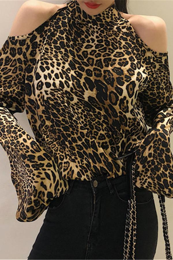 Fashion Leopard Print Shoulder Exposed Loose Shirt Leopard Print one size