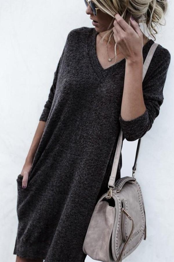 Autumn And Winter Warm Color Long-Sleeved Sweater dark_grey s