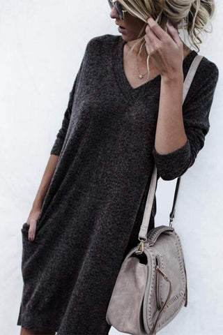 Image of Autumn And Winter Warm Color Long-Sleeved Sweater dark_grey s