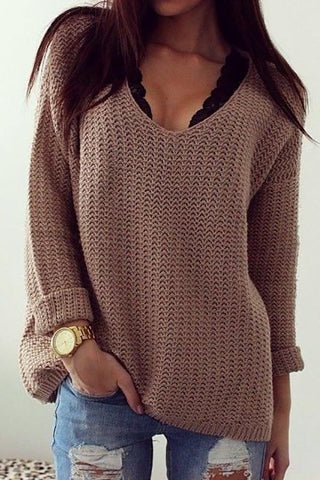 Image of Retro Casual Popular Hollow V Neck Loose Long-Sleeved Sweater same_as_photo xl