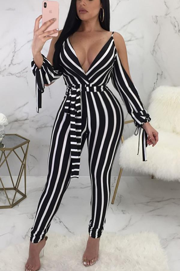 Casual Show Thin Sexy   V Neck Strips Jumpsuit Stripe s