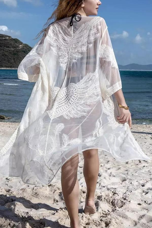 Vacation beach mesh lace hook flower hollow long blouse White one size
