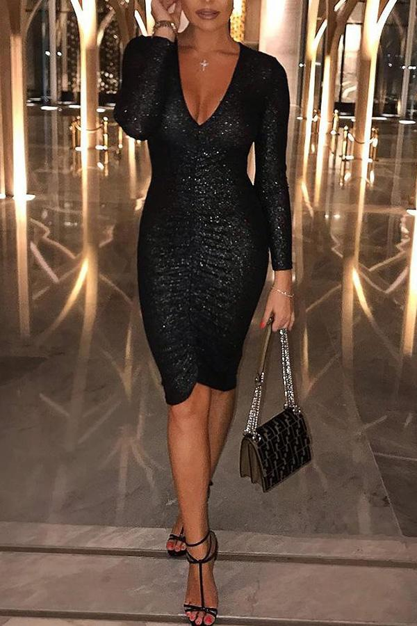 Casual Sexy Deep V   Neck Sequins Mini Bodycon Dresses Black s