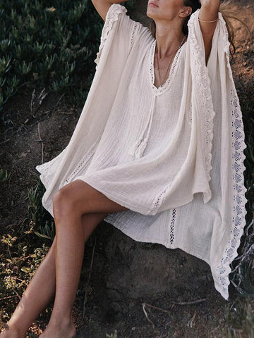 Image of Joygos Bohemia V-neck Kaftan Mini Dress