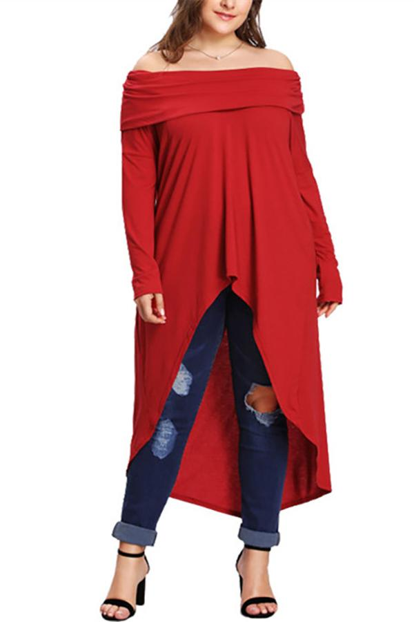 Plus-size solid color off shoulder long sleeved dress blouse Red xl