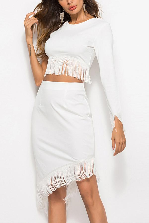 Casual Sexy Tassels   Pure Color Mini Dresses White m